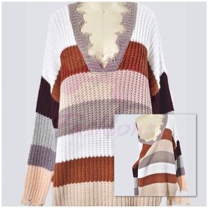 Tunic Multi Color Block Sweater - RUST
